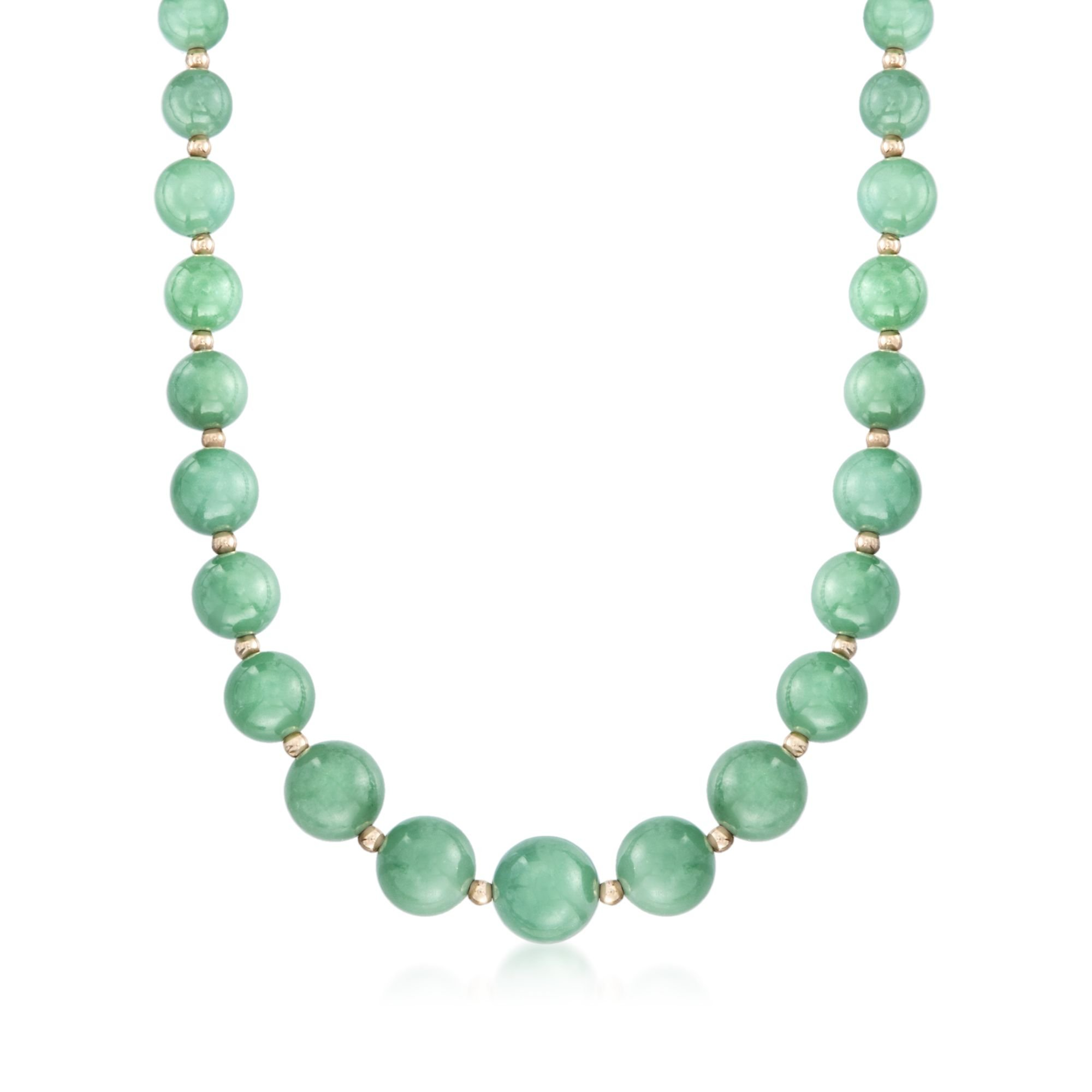 Ross-Simons 6-12mm Green Jade Bead Necklace With 14kt Yellow Gold
