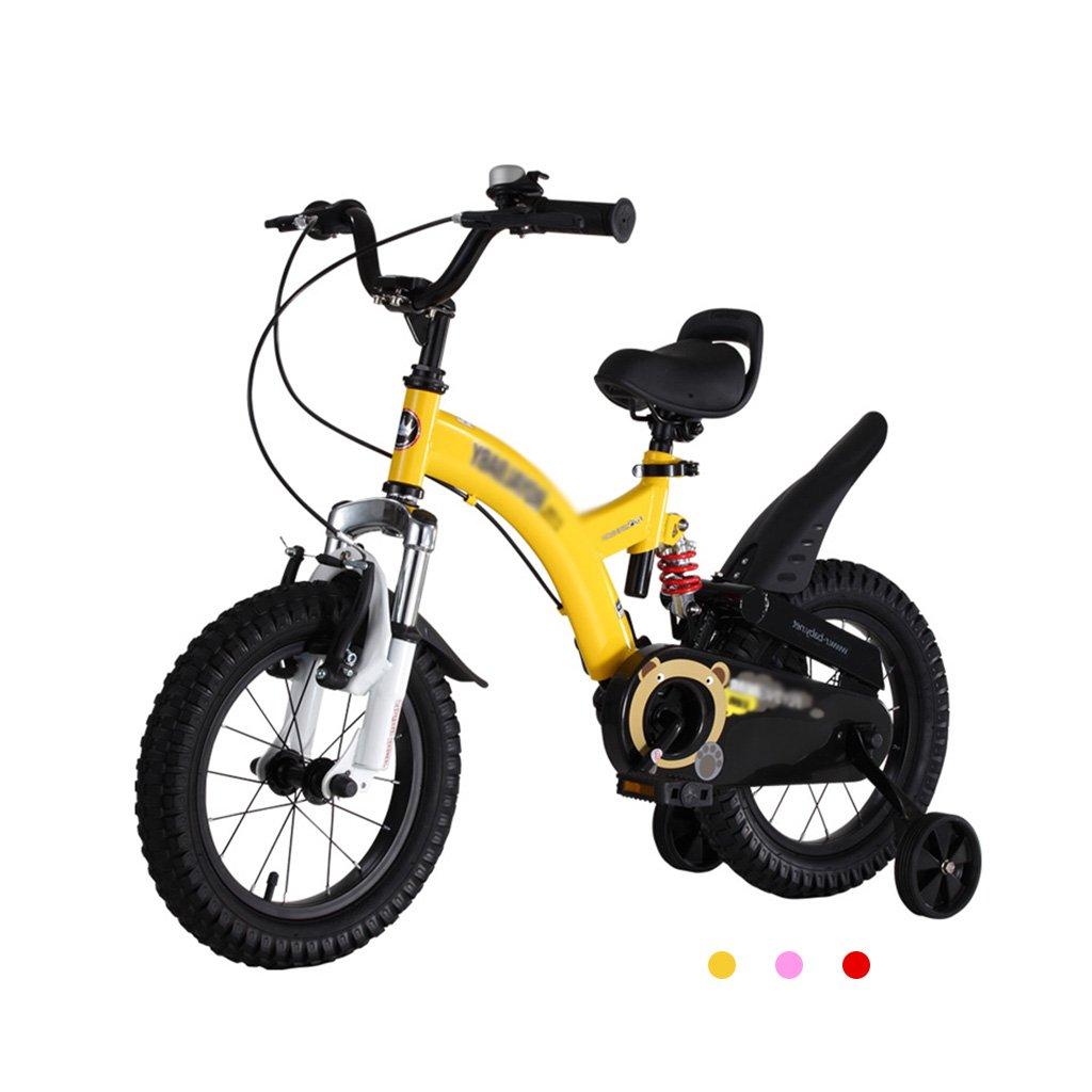 Gai Huaホーム子供用自転車子供の自転車2 – 4-6 – 7-8 – 9-10 Year Old Boy and Girl Baby Strollerペダル自転車 B07DQLD6Q4 14 inches|イエロー イエロー 14 inches