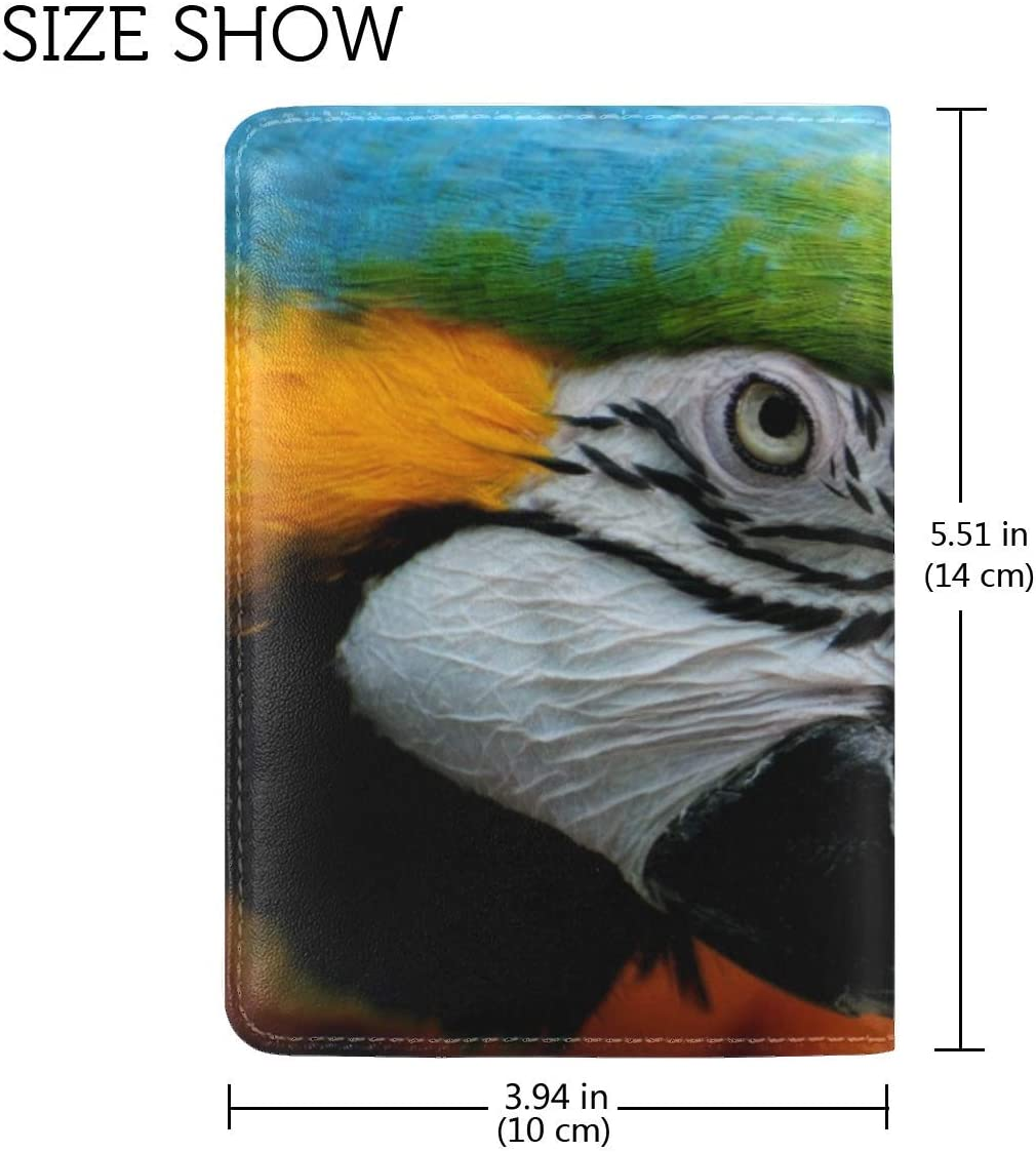 JiaoL Parrot Colorful Feathers Bird Leather Passport Holder Cover Case Travel One Pocket