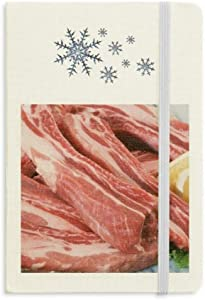 Rib Chop Raw Meat Food Texture Notebook Thick Journal Snowflakes Winter