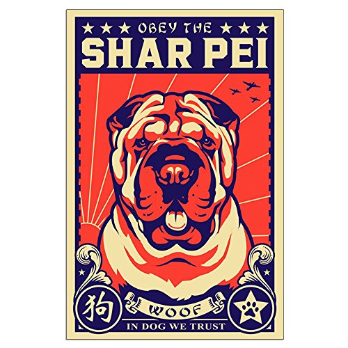 CafePress - Obey The Shar Pei! Large Propaganda Poster - 23