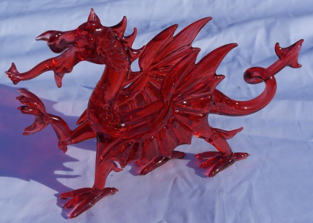 Y Ddraig Goch The red Dragon of Wales. Stunning small glass Welsh dragon