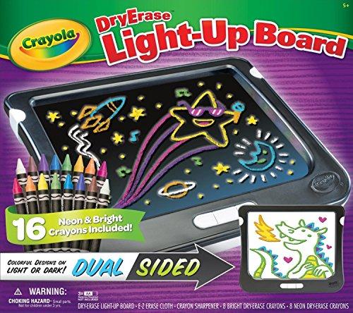 Crayola Dry Erase Light-Up Board - Dual Sided (16 Neon & Bright Crayons (Crayola Light Up Board)