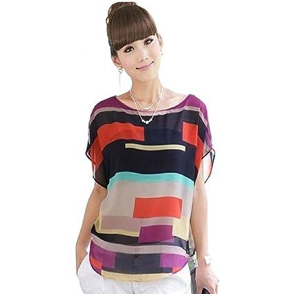 Malloom® mujer verano perspectiva fresco casual suelto gasa Tops Blusas Camiseta (4)