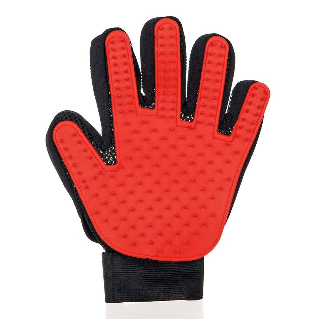 Pet Grooming Mitts , Hair Remover Gentle Deshedding Gloves for Dog Cat Horse Rabbit and More Pet Bathing Lint Magic Brush (Right Hand). (Color : Red)