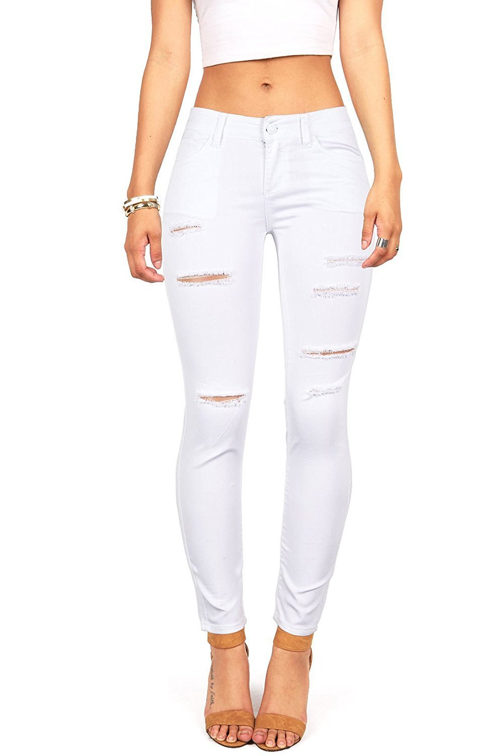 Women's Juniors Mid-Rise Distressed Slim Fit Stretchy Skinny Jeans Jegging White