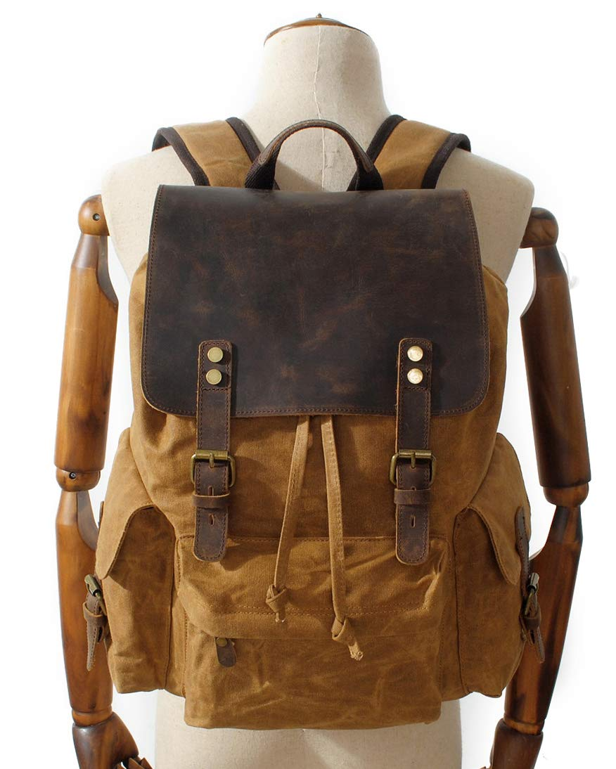 Iswee Waxy Canvas Leather Backpack Waterproof Travel Hiking Rucksack Students Daypack Black