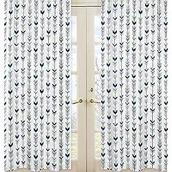 Grey Navy And Mint Woodland Arrow Boy Girl Bedroom Decor Window Treatment Panels