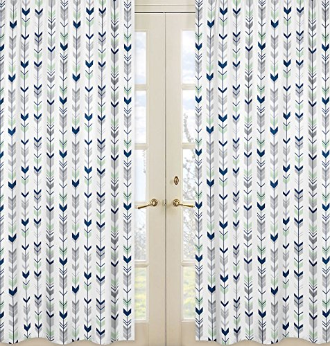 Sweet Jojo Designs 2-Piece Grey, Navy and Mint Woodland Arrow Boy Girl Bedroom Decor Window Treatment Panels from Sweet Jojo Designs