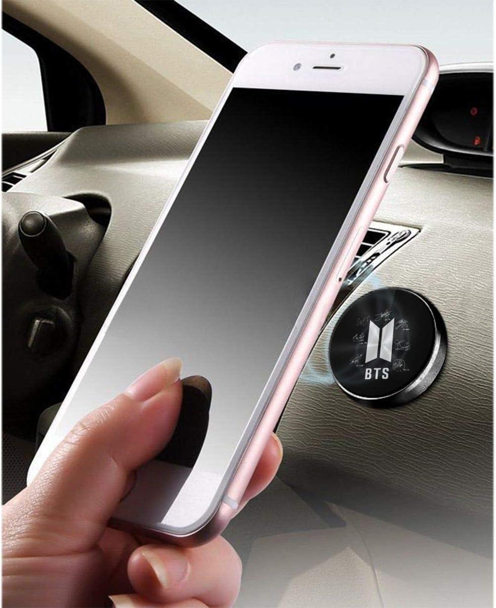 BTS-Bangtan Boys Autograph Magnetic Universal Car Phone Bracket-All Metal Car Bracket for Smartphone and GPS-Mobile Phone Bracket for Car Dashboard