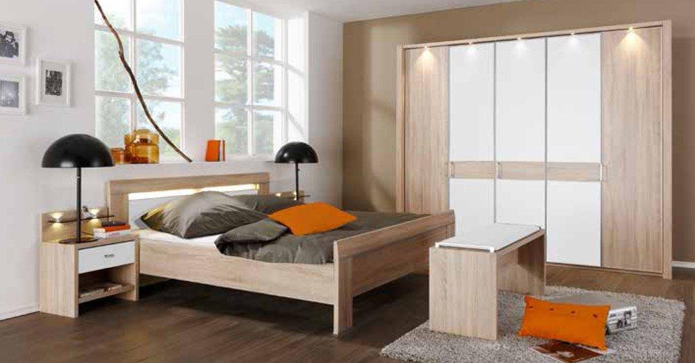 Schlafzimmer in Eiche sägerau-Nachbildung mit Kleiderschrank, B: ca. 250 cm, Kompaktbett ca. 180 x 200 cm und 2 Nachtschränken B: ca. 52 cm