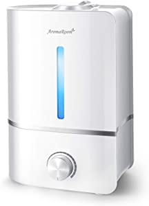 Cool Mist Humidifier, 4L Ultrasonic Humidifier for Bedroom, Air Humidifier Diffuser for Baby Nursery with 360° Nozzle, Quiet Vaporizer for Home Office, Adjustable Mist, Auto Shut-Off, White