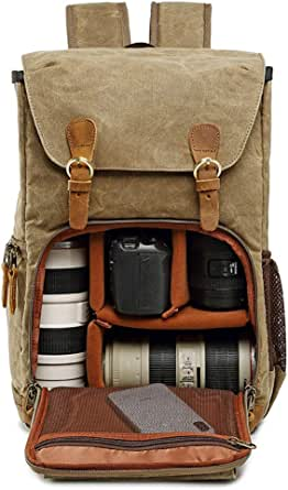 Cuekondy Camera Backpack Vintage Waterproof Photography Canvas Bag for Camera, Lens,Laptop and Accessories Travel Use