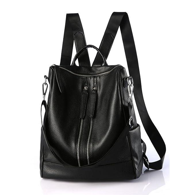 cf2a34227555 Backpack Women Genuine Leather Casual Shoulder Bag Purse Versatile Unisex  Classic