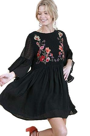 c03d2b64f5d Umgee Women's Floral Embroidered Swiss Dot Keyhole Bell Sleeve Dress  (Small, Black)