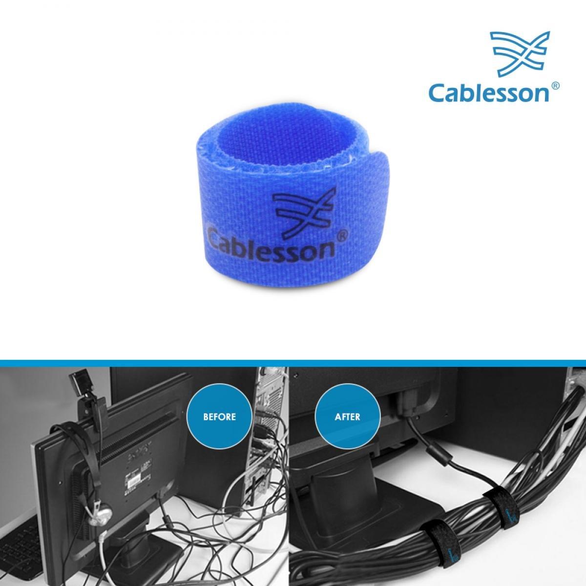 Cablesson Fermacavi di Velcro e Nylon Gancio e Laccio rilasciabili e riutillizabili fissi e mantenga Il Filo da Cavo ordinato Nero. Pacco di 50 Pacco Fino