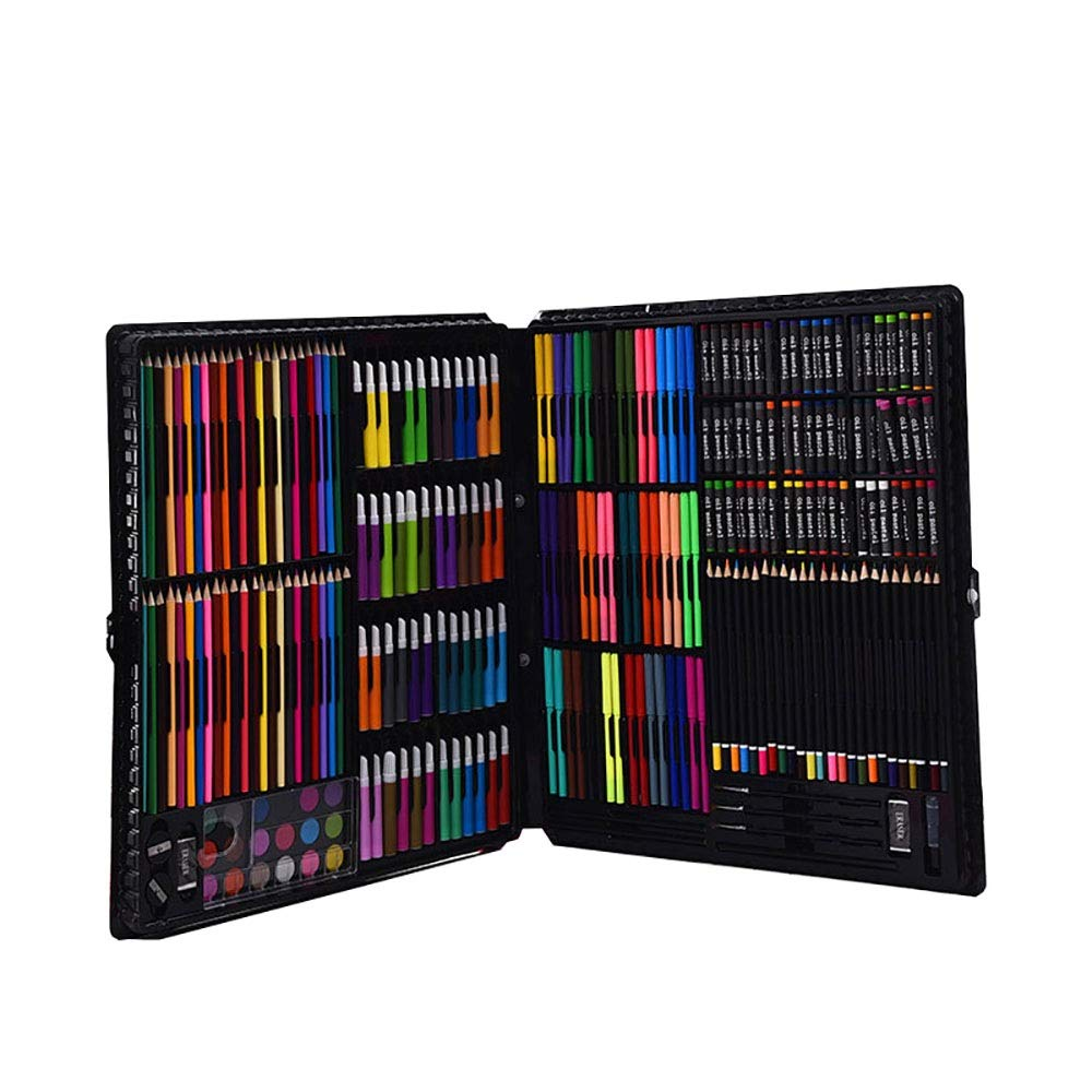 DERTHWER Children's Watercolor Pen Set 288 Piece Colouring Pencils Art Set for Drawing Children Artist Beginner Colored Pencil Set DIY Painting Tools (Color : Black, Size : Free Size)
