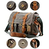 Search : GEARONIC TM Men's Vintage Canvas Messenger Bag Shoulder and Leather Satchel School Military - Slate