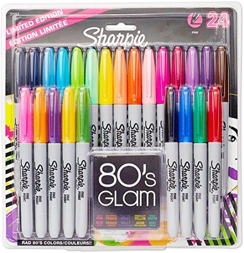 Sharpie S0944841 Permanentmarker (feine Spitze, limitierte Auflage, 80er-Jahre-Glamour-Farben) 24er-Pack