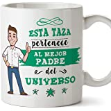 MUGFFINS Papa Tazas Originales de café y Desayuno para Regalar a Padres - Esta Taza Pertenece al Mejor Padre del Universo - Cerámica 350 ml