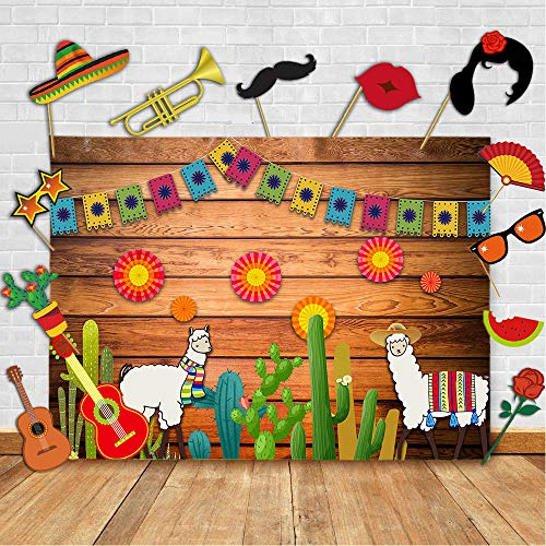(TJ Mexico Fiesta Wood Photography Backdrop and Studio Props DIY Kit. Mexican Cinco de Mayo Dress-up Photo Booth Background Cactus Guitar Colorful Flags Flowers Birthday Banner Cake Table Decor)