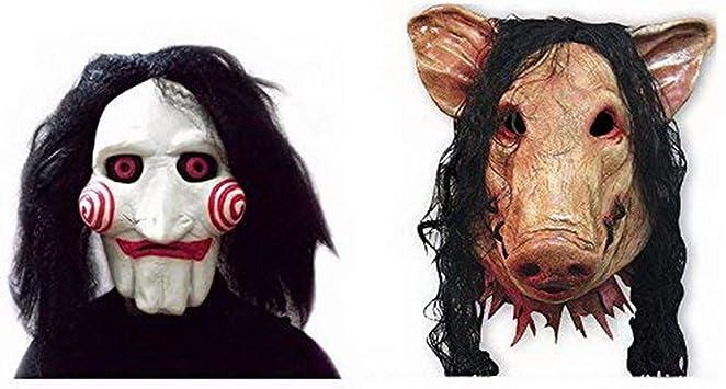 2x SET Cerdo + Máscara SAW JIGSAW con pelo sintético - Perfecto para carnaval y Halloween - Disfraz de adulto - Látex, unisex Talla única: Amazon.es: Juguetes y juegos