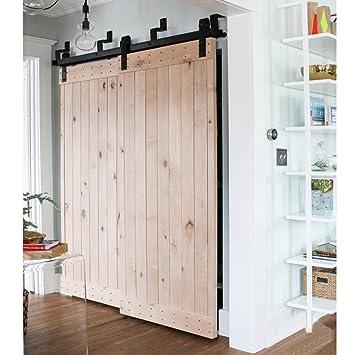 Amazon Com Winsoon 4ft Bypass Barn Door Hardware Sliding Kit 4 16ft For Interior Exterior Cabinet Closet Doors With Hangersj Shape Roller Foot