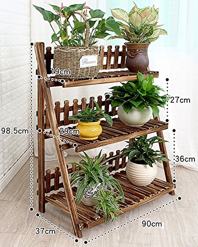- Flower Stands Wooden Flower Racks/Indoor and Outdoor Plant Racks/Multi-Layer Flower Pots / 3F Ladder Stairway/Floor-Type Flower Display Stand Flower Rack