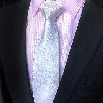 Corbatas para Hombre,Moda Anacardo Blanco Flor Impresa Alambre De ...