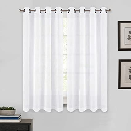 PONY DANCE Bedroom Curtains Voile   Window Sheers Faux Linen Textured  Elegant Grommet Privacy Kitchen Curtain