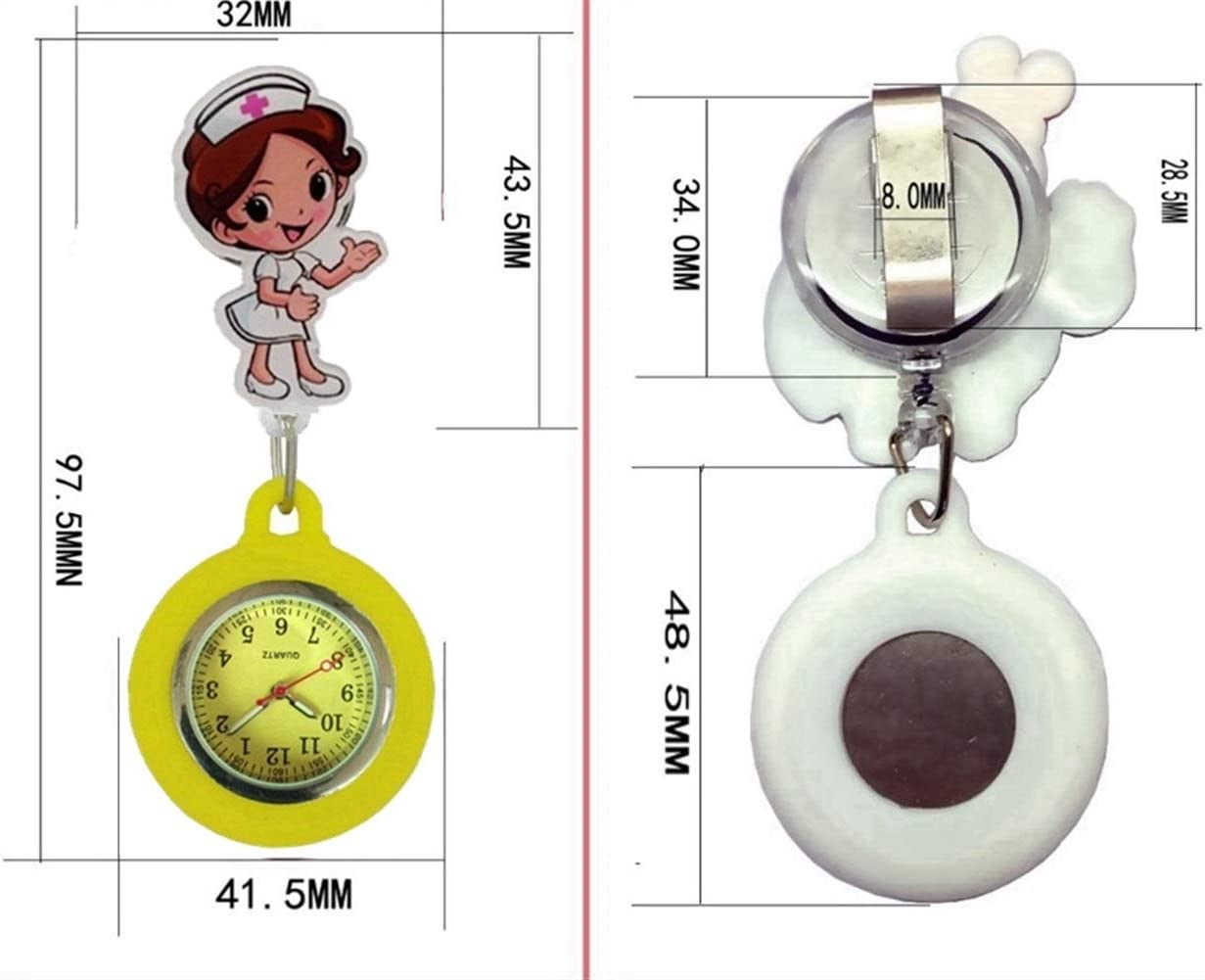 Montre Broche Badge Cartoon rétractable 3D bobine infirmière FOB Montres de poche Hommes Femmes Mesdames docteur coloré Belle montres à quartz cadeau Pour le travail à l'intérieur ( Color : 1 ) 5