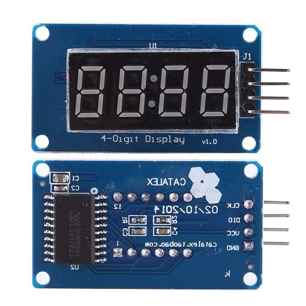 hiletgo 4 Bits Digital Tubo LED módulo de visualización Segmento con pantalla de reloj rojo ánodo común para Arduino UNO R3 (paquete de 2): Amazon.es: ...