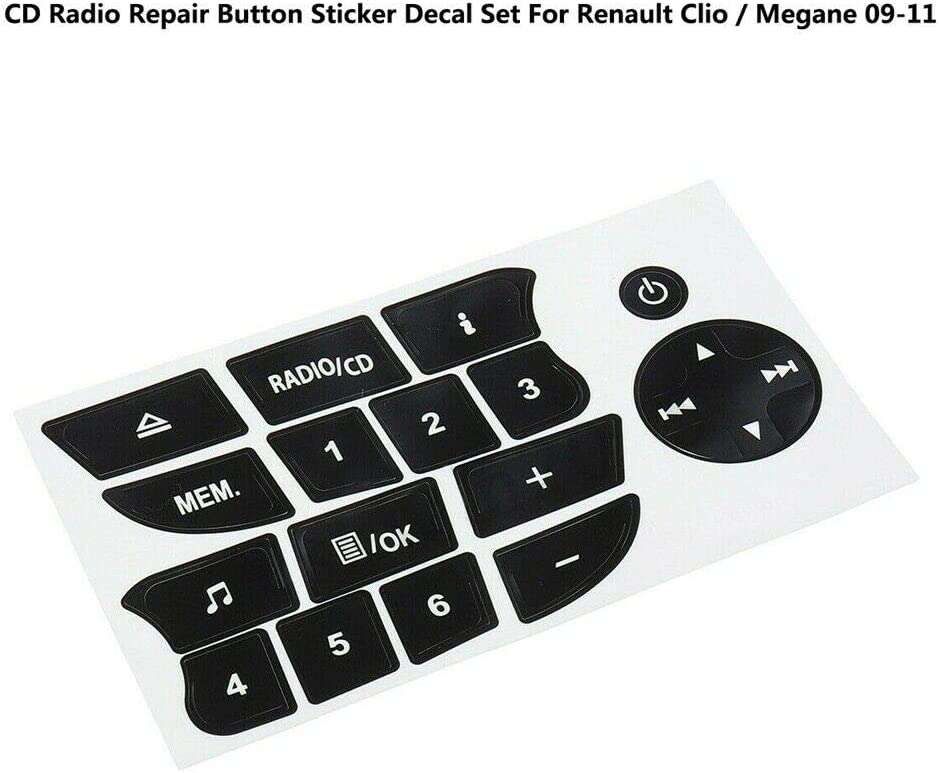 Baaqii Schwarzes Cd Radio Repair Button Aufkleber Für Renault Clio Megane 09 11 Auto