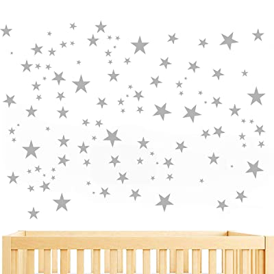JUEKUI Moon and Stars Wall Decal Set Starry Sky Vinyl Sticker for Kids Boys Girls Baby Room Decoration Good Night Nursery Wall Decor Home Decoration WS29 (Light Grey): Kitchen & Dining
