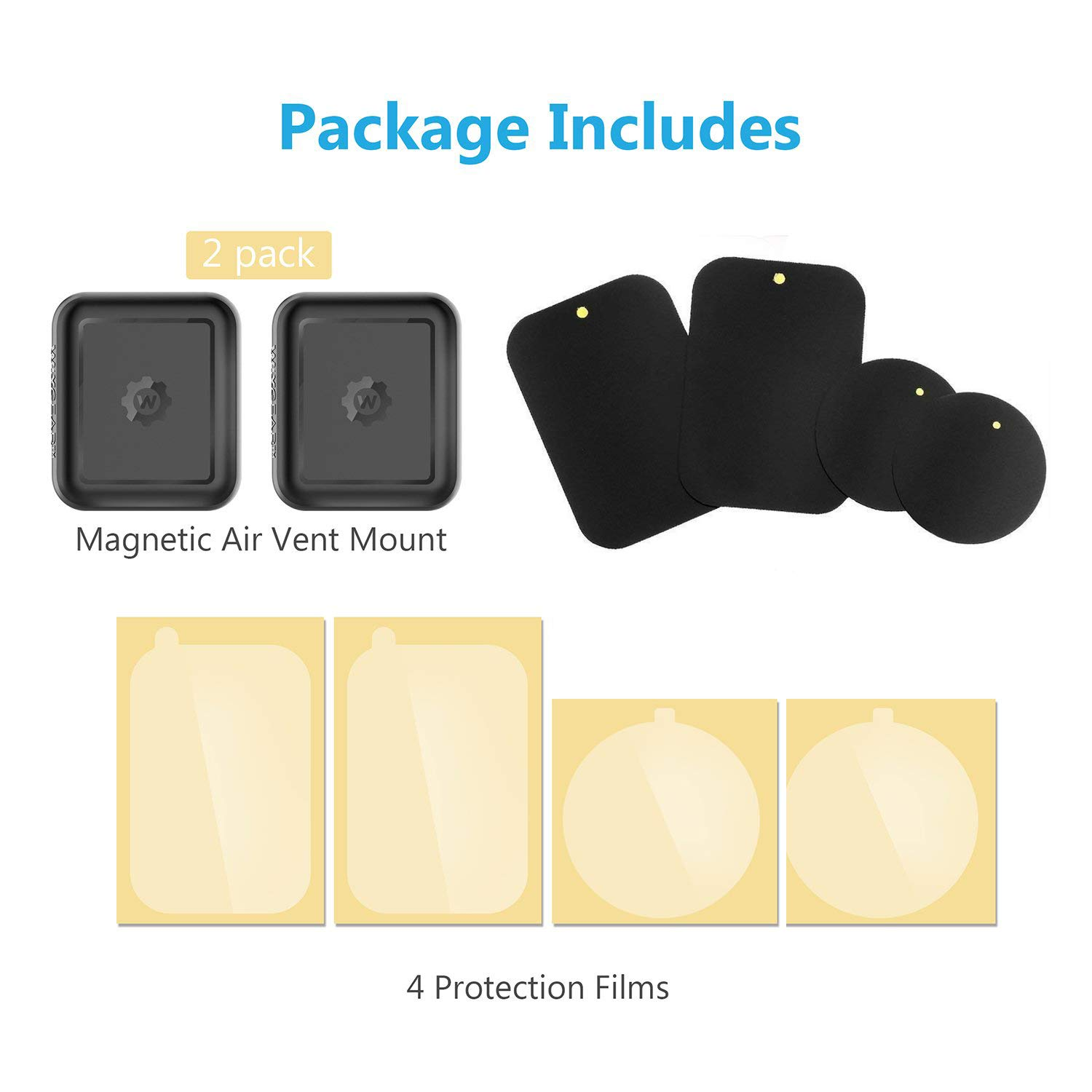 for Cell Phones and Mini Tablets with Fast Swift-Snap Technology, 2 Pack magnetic phone car mount 2 pack New Rectangle Design Magnetic Mount WizGear Universal Air Vent Magnetic Phone Holder for Car