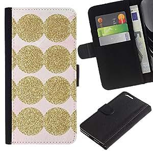 KLONGSHOP // Tirón de la caja Cartera de cuero con ranuras para tarjetas - Brillante Modelo rosado Dot - Apple Iphone 6 PLUS 5.5 //