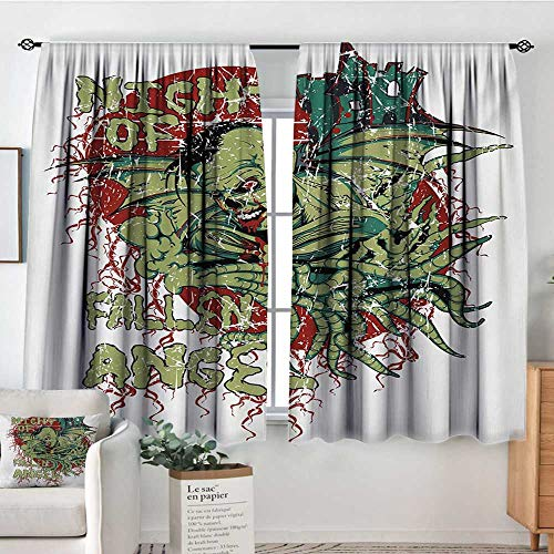 Vampire Patterned Drape for Glass Door Night of Fallen Angel Demonic Zombie Hunting Freaky Scary Nightmare Image Customized Curtains 55
