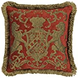 Adorabella Heraldic Red Pillow - Crest Design With Latin Woven Inscription - You Trust My Glory - 21'' x 21'' Square Throw Pillow Home Decor Scatter Cushion - Complete With Insert
