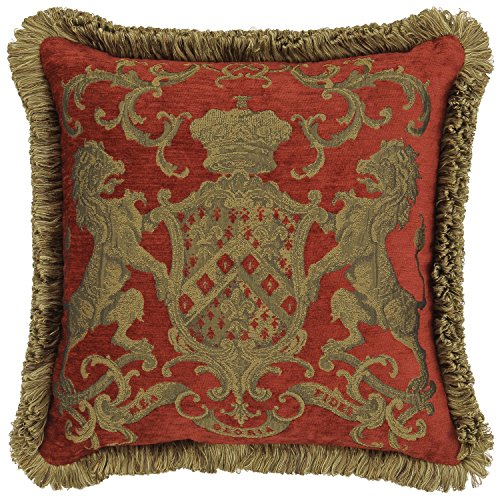 Adorabella Heraldic Red Pillow - Crest Design With Latin Woven Inscription - My Faith is My Glory - 21'' x 21'' Square Throw Pillow Home Decor Scatter Cushion - Complete With Insert by Adorabella