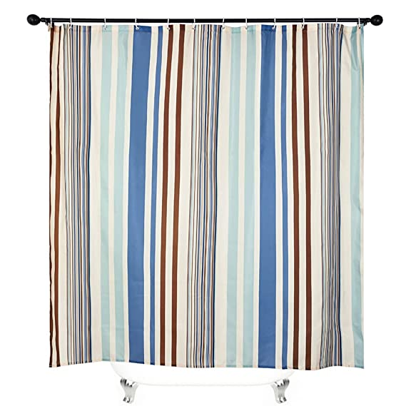 SearchI Striped Fabric Shower Curtain, Waterproof Geometric Decor Shower Curtain with 12 Hooks 71x71 inches Blue