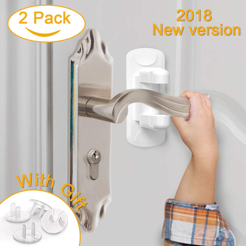Door Lever Lock (2 Pack), Child Proof Doors Handles 3M Adhesive for Toddler Children Safety with Bonus 4 Clear Outlet Covers by Cotify