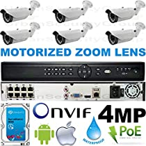 USG Business Grade Auto-Focus 4MP 2592x1520 6 Camera HD Security System : 16 Channel 6MP Security NVR + 6x Bullet Motorized 2.8-12mm Cameras + 1x 2TB HDD : Apple Android Phone App