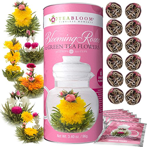 Teabloom Rose Flowering Tea - 12 Hand Tied Blooming Tea Flowers - 36 Steeps, Makes 250 Cups - Romantic Rose Tea Gift Set for Tea Lovers - Premium Handpicked Ingredients