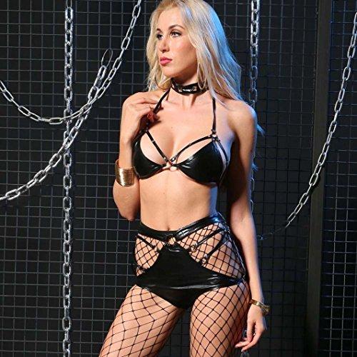 Donna Bustini e corsetti, , Kword Donne Due pezzi cinturino in pelle Brevetto Lingerie