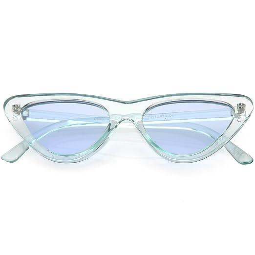 f01dfed1417 sunglassLA - Women s Extreme Translucent Cat Eye Sunglasses Color Tinted  Flat Lens 51mm (Blue)