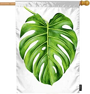 Moslion Leaf House Flag 28x40 Inch Tropical Monstera Hand Painted Watercolor Realistic Botanical Art Nature Summer House Flag Decorative Outdoor House Flags Double-Sided Cotton Linen