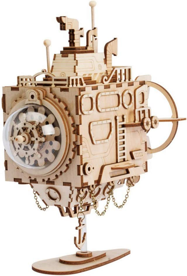 SHANYYH Music Box Steampunk Rotating Robot DIY Wooden Clockwork Music Box Home Decoration Accessories Children