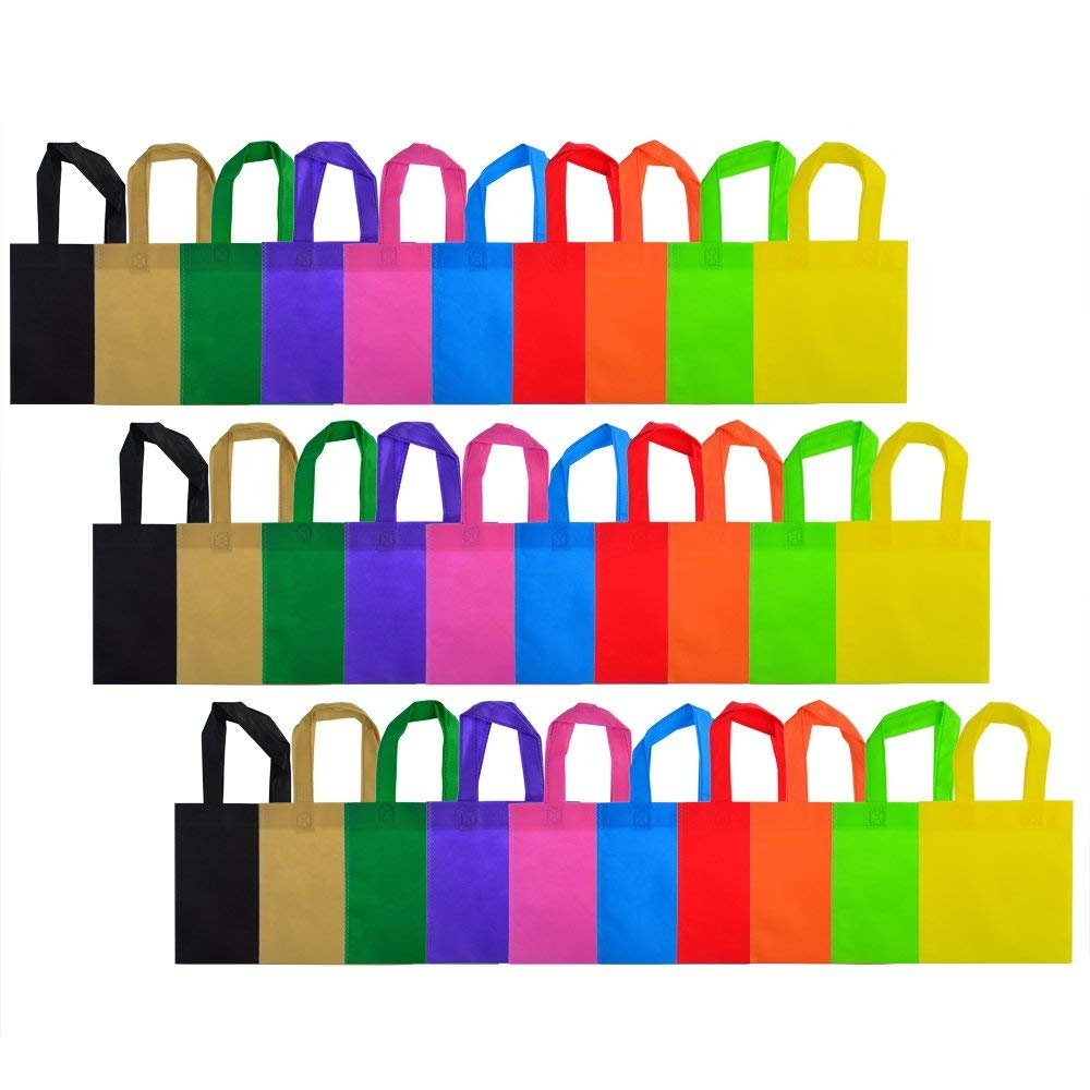 30 Pack Party Favor Gift Bags with Handles, Wobe 10 Colors 8x8'' Non-woven Tote Bags Treat Bags for Christmas Party Favor Gifts 8 by 8 Inches Polyester for Kids Birthday Snacks Delivery Bag