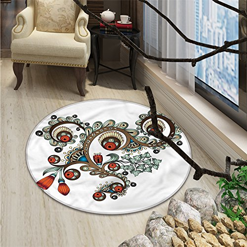 Henna small round rug Carpet Doodle Style Floral Pattern Vibrant Color Palette Asian CultureOriental Floor and Carpets Burnt Sienna Brown Almond Green