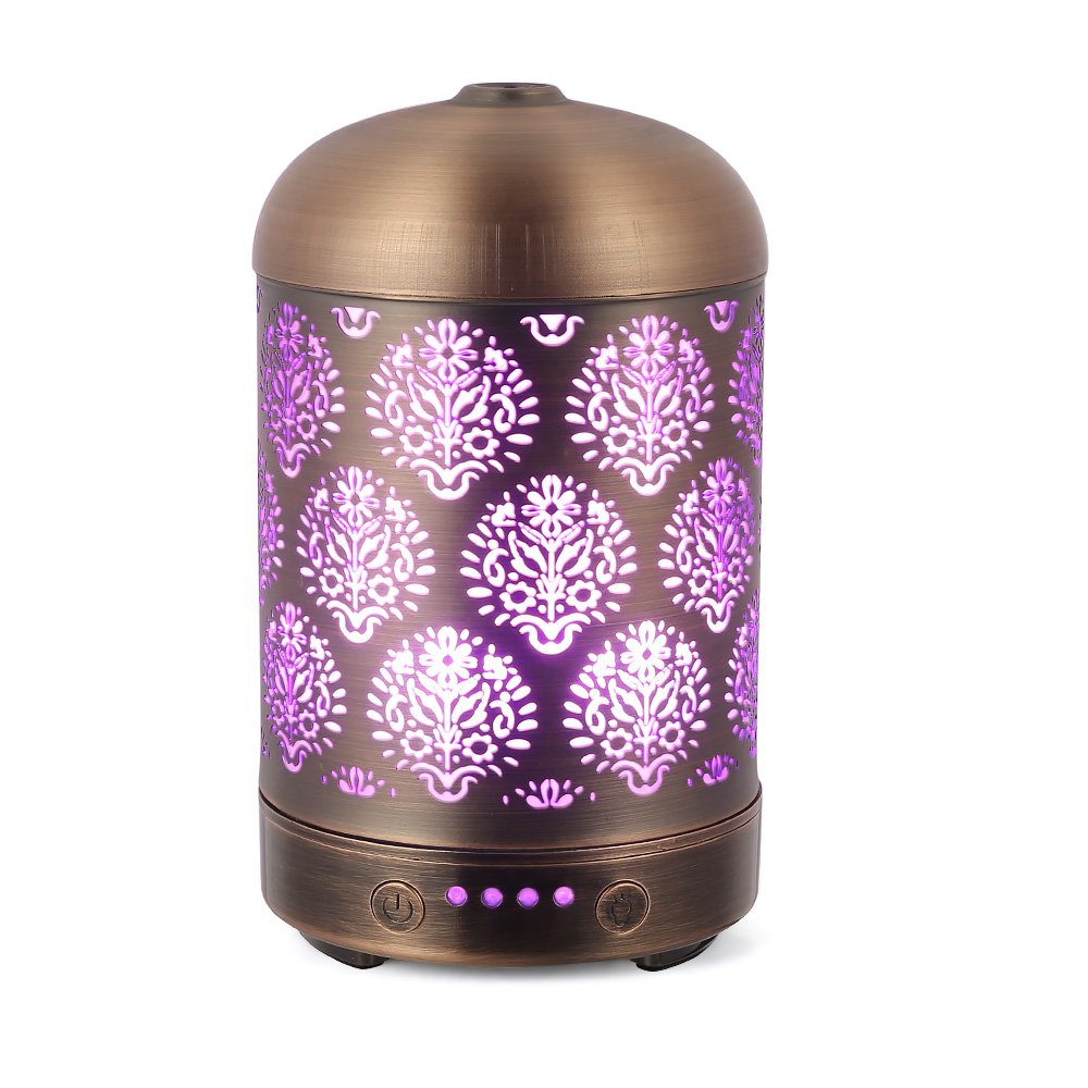 COOSA 100ml Dandelion Pattern Ultrasonic Aroma Diffuser US Plug Standard Aroma Mist Humidifier with 7 Colorful LED Light Great for Home & Office (Copper) by COOSA
